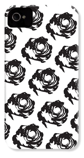 Black Rose Pattern IPhone 4s Case by Cortney Herron