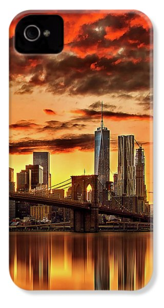 Blazing Manhattan Skyline IPhone 4s Case by Az Jackson