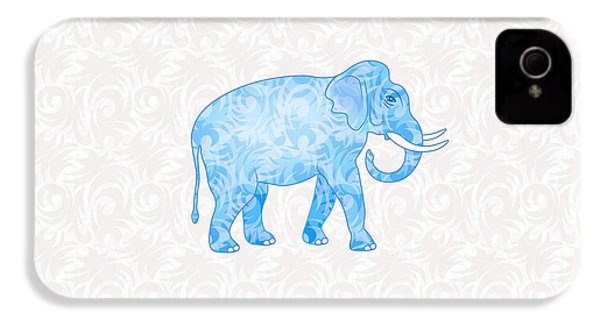 Blue Damask Elephant IPhone 4s Case by Antique Images