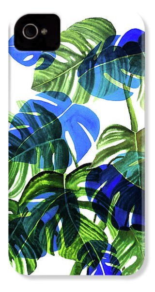 Blue Monstera IPhone 4s Case by Ana Martinez