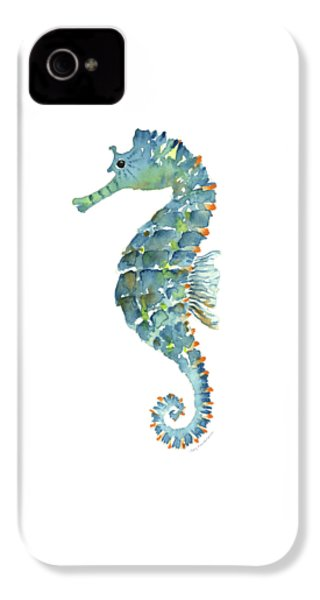 Blue Seahorse IPhone 4s Case by Amy Kirkpatrick
