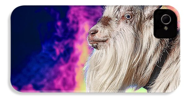 Blue The Goat In Fog IPhone 4s Case by TC Morgan