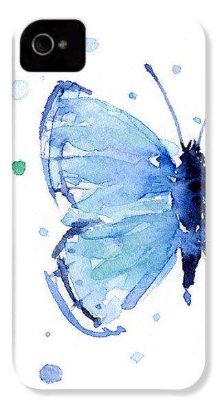 Blue Watercolor Butterfly IPhone 4s Case by Olga Shvartsur