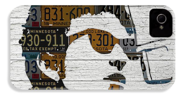 Bob Dylan Minnesota Native Recycled Vintage License Plate Portrait On White Wood IPhone 4s Case by Design Turnpike