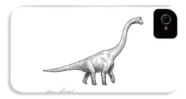 Brachiosaurus Black And White Dinosaur Drawing  IPhone 4s Case by Karen Whitworth