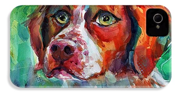 Brittany Spaniel Watercolor Portrait By IPhone 4s Case