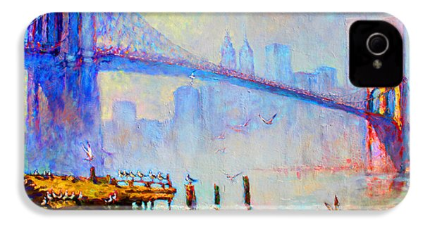 Brooklyn Bridge In A Foggy Morning IPhone 4s Case by Ylli Haruni