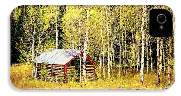 IPhone 4s Case featuring the photograph Cabin In The Golden Woods by Karen Shackles