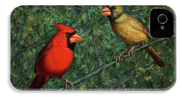 Cardinal Couple IPhone 4s Case by James W Johnson