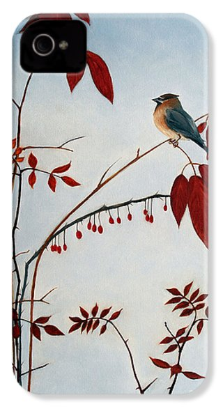 Cedar Waxwing IPhone 4s Case by Laura Tasheiko