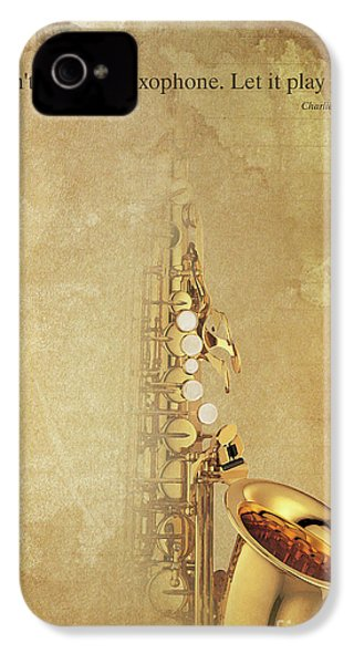 Charlie Parker Saxophone Brown Vintage Poster And Quote, Gift For Musicians IPhone 4s Case by Pablo Franchi