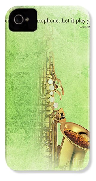 Charlie Parker Saxophone Green Vintage Poster And Quote, Gift For Musicians IPhone 4s Case by Pablo Franchi