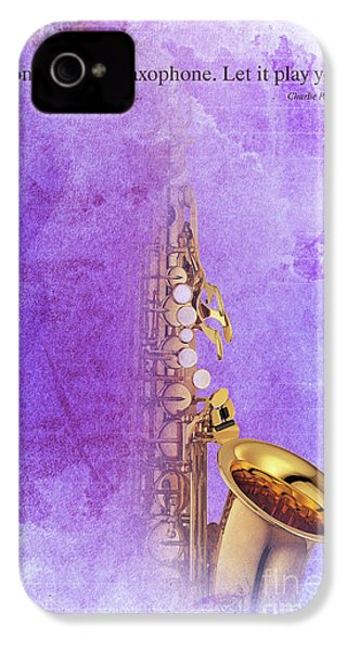 Charlie Parker Saxophone Purple Vintage Poster And Quote, Gift For Musicians IPhone 4s Case by Pablo Franchi