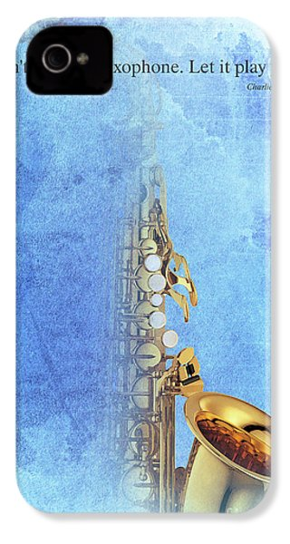 Charlie Parker Saxophone Vintage Poster And Quote, Gift For Musicians IPhone 4s Case by Pablo Franchi