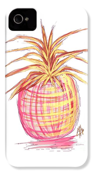 Chic Pink Metallic Gold Pineapple Fruit Wall Art Aroon Melane 2015 Collection By Madart IPhone 4s Case by Megan Duncanson
