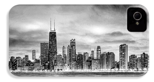 Chicago Gotham City Skyline Black And White Panorama IPhone 4s Case by Christopher Arndt