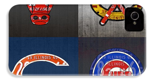 Chicago Sports Fan Recycled Vintage Illinois License Plate Art Bulls Blackhawks Bears And Cubs IPhone 4s Case by Design Turnpike