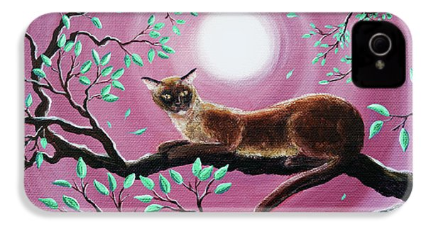 Chocolate Burmese Cat In Dancing Leaves IPhone 4s Case by Laura Iverson
