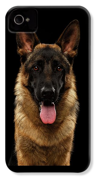 Closeup Portrait Of German Shepherd On Black  IPhone 4s Case by Sergey Taran
