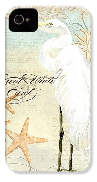 Coastal Waterways - Great White Egret 3 IPhone 4s Case by Audrey Jeanne Roberts