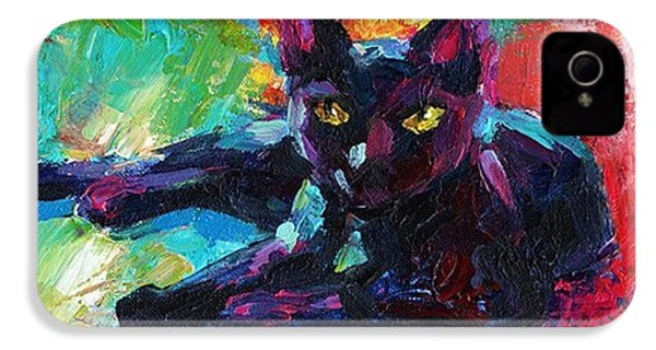 Colorful Black Cat Painting By Svetlana IPhone 4s Case