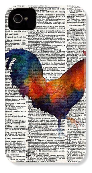 Colorful Rooster On Vintage Dictionary IPhone 4s Case by Hailey E Herrera