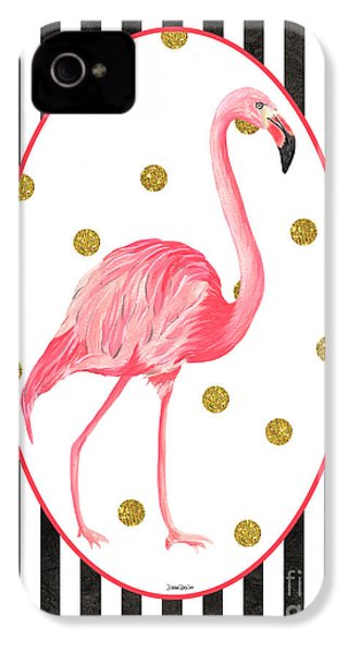 Contemporary Flamingos 2 IPhone 4s Case by Debbie DeWitt