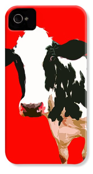 Cow In Red World IPhone 4s Case by Peter Oconor