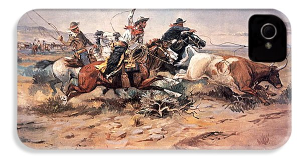 Cowboys Roping A Steer IPhone 4s Case by Charles Marion Russell