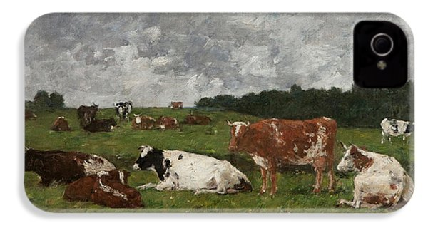 Cows At The Pasture IPhone 4s Case by Eugene Louis Boudin