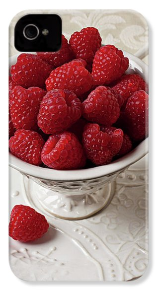 Cup Full Of Raspberries  IPhone 4s Case by Garry Gay
