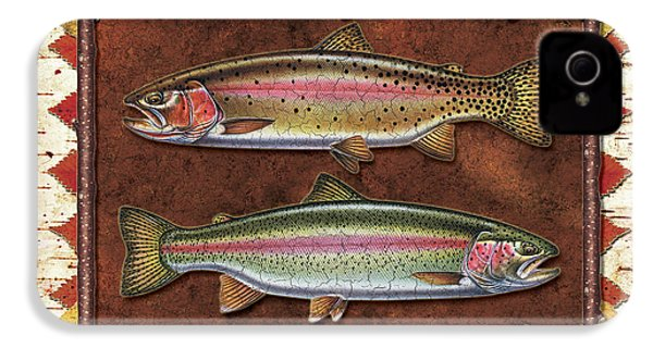 Cutthroat And Rainbow Trout Lodge IPhone 4s Case by JQ Licensing