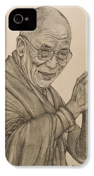Dalai Lama Tenzin Gyatso IPhone 4s Case by Kent Chua
