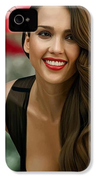 Digital Painting Of Jessica Alba IPhone 4s Case by Frohlich Regian