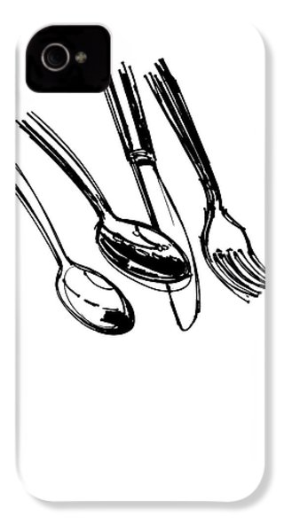 Diner Drawing Spoons, Knife, And Fork IPhone 4s Case by Chad Glass
