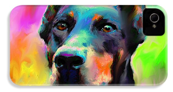 Doberman Pincher Dog Portrait IPhone 4s Case by Svetlana Novikova