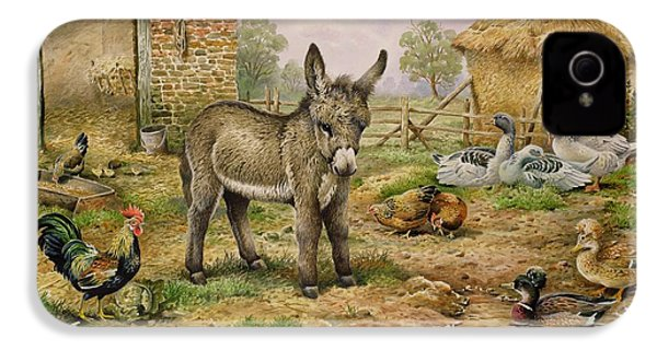 Donkey And Farmyard Fowl  IPhone 4s Case by Carl Donner