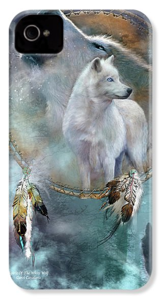 Dream Catcher - Spirit Of The White Wolf IPhone 4s Case by Carol Cavalaris