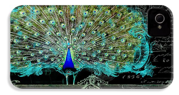Elegant Peacock W Vintage Scrolls 3 IPhone 4s Case by Audrey Jeanne Roberts