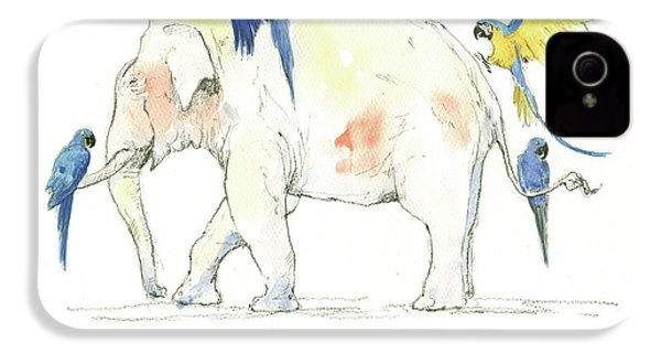 Elephant And Parrots IPhone 4s Case by Juan Bosco