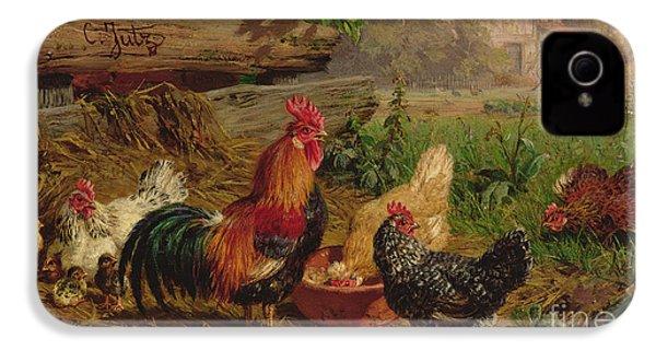 Farmyard Chickens IPhone 4s Case by Carl Jutz