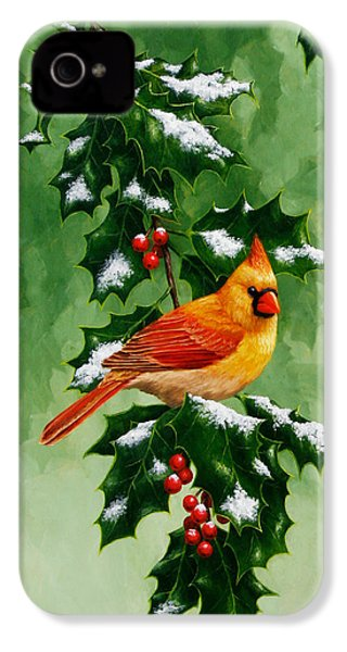 Female Cardinal And Holly Phone Case IPhone 4s Case