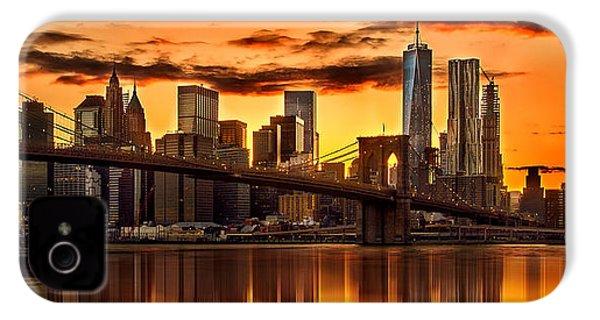Fiery Sunset Over Manhattan  IPhone 4s Case by Az Jackson