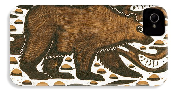 Fishing Bear IPhone 4s Case by Nat Morley