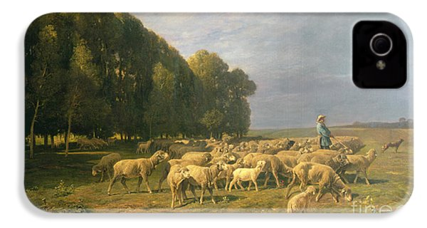 Flock Of Sheep In A Landscape IPhone 4s Case by Charles Emile Jacque