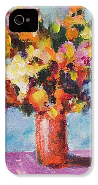 Flower Bouquet In Red Vase IPhone 4s Case by Yulia Kazansky