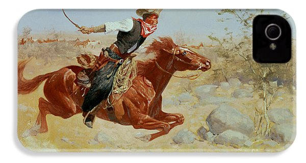 Galloping Horseman IPhone 4s Case by Frederic Remington