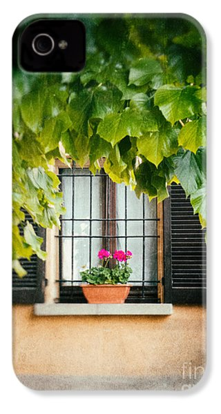 IPhone 4s Case featuring the photograph Geraniums On Windowsill by Silvia Ganora