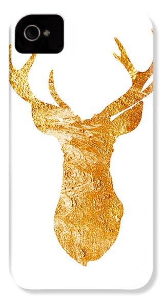 Gold Deer Silhouette Watercolor Art Print IPhone 4s Case by Joanna Szmerdt