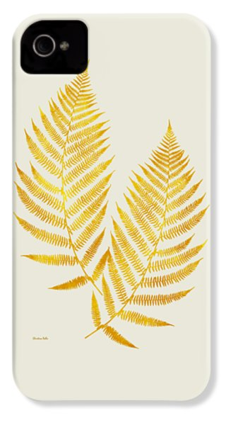 IPhone 4s Case featuring the mixed media Gold Fern Leaf Art by Christina Rollo